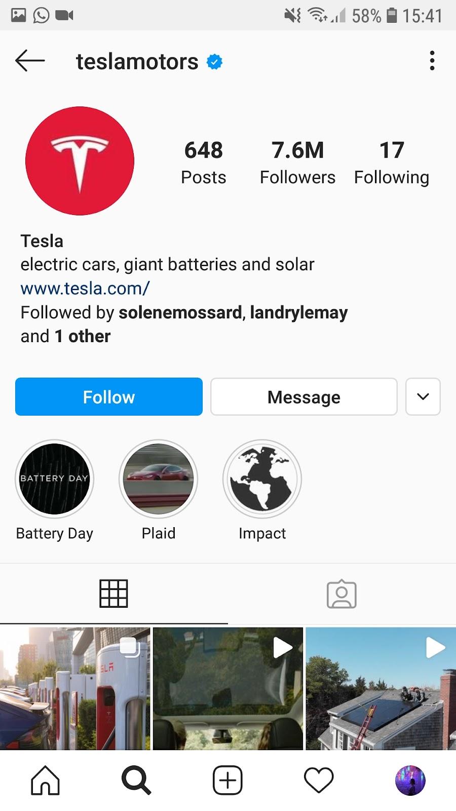 compte insta Tesla