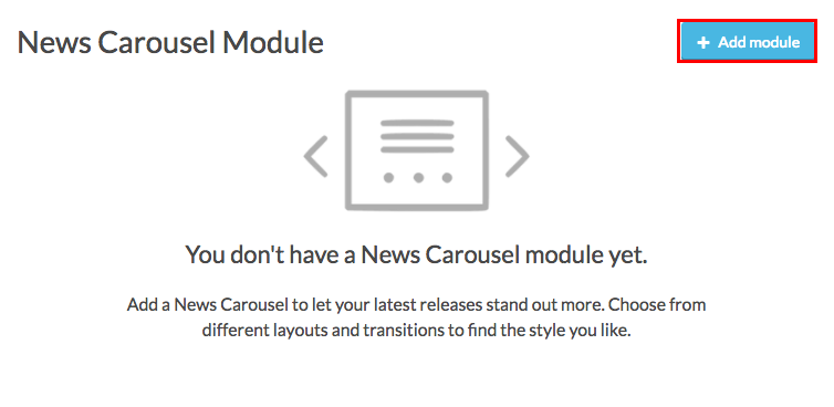 news carousel with add button highlighted