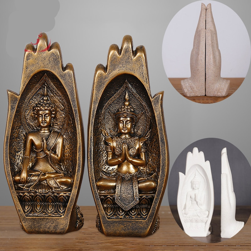 2 Pieces Resin Buddha Figurine Vintage Brass
