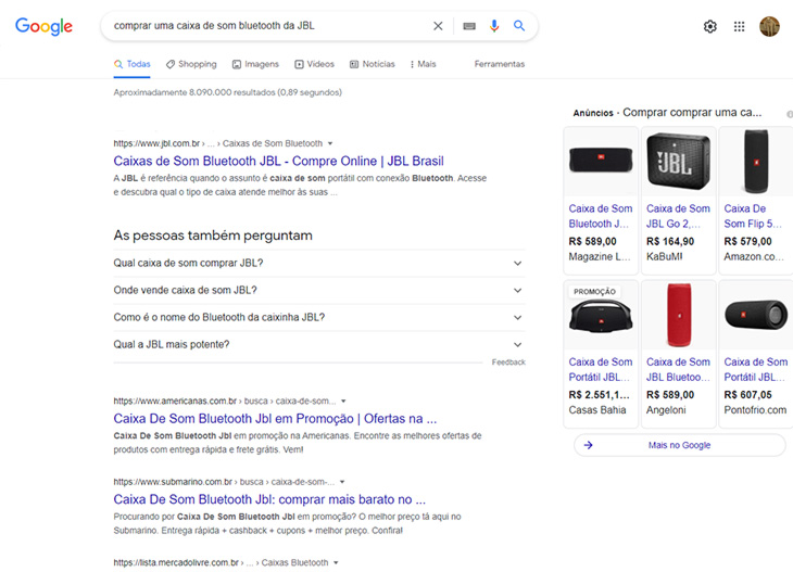 pesquisa no google sobre comprar uma caixa de som bluetooth da jbl