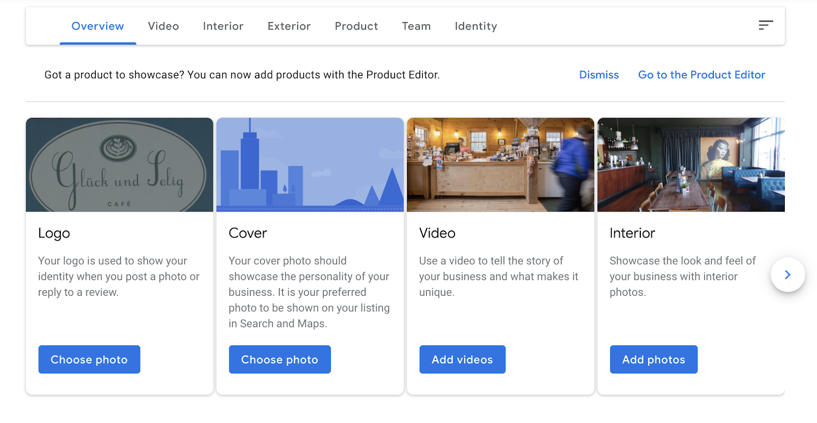 Product editor showcasing business' logo, cover photo, video, etc.