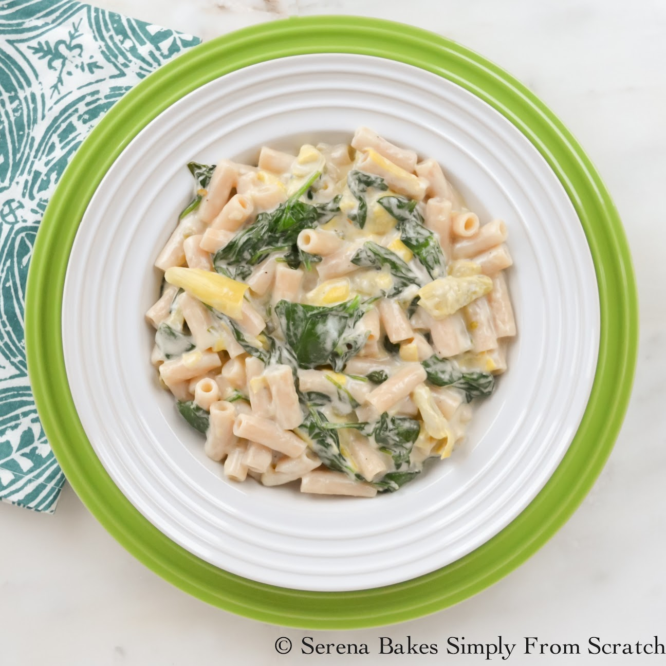 One Skillet Spinach Artichoke Pasta With A Gluten Free Option