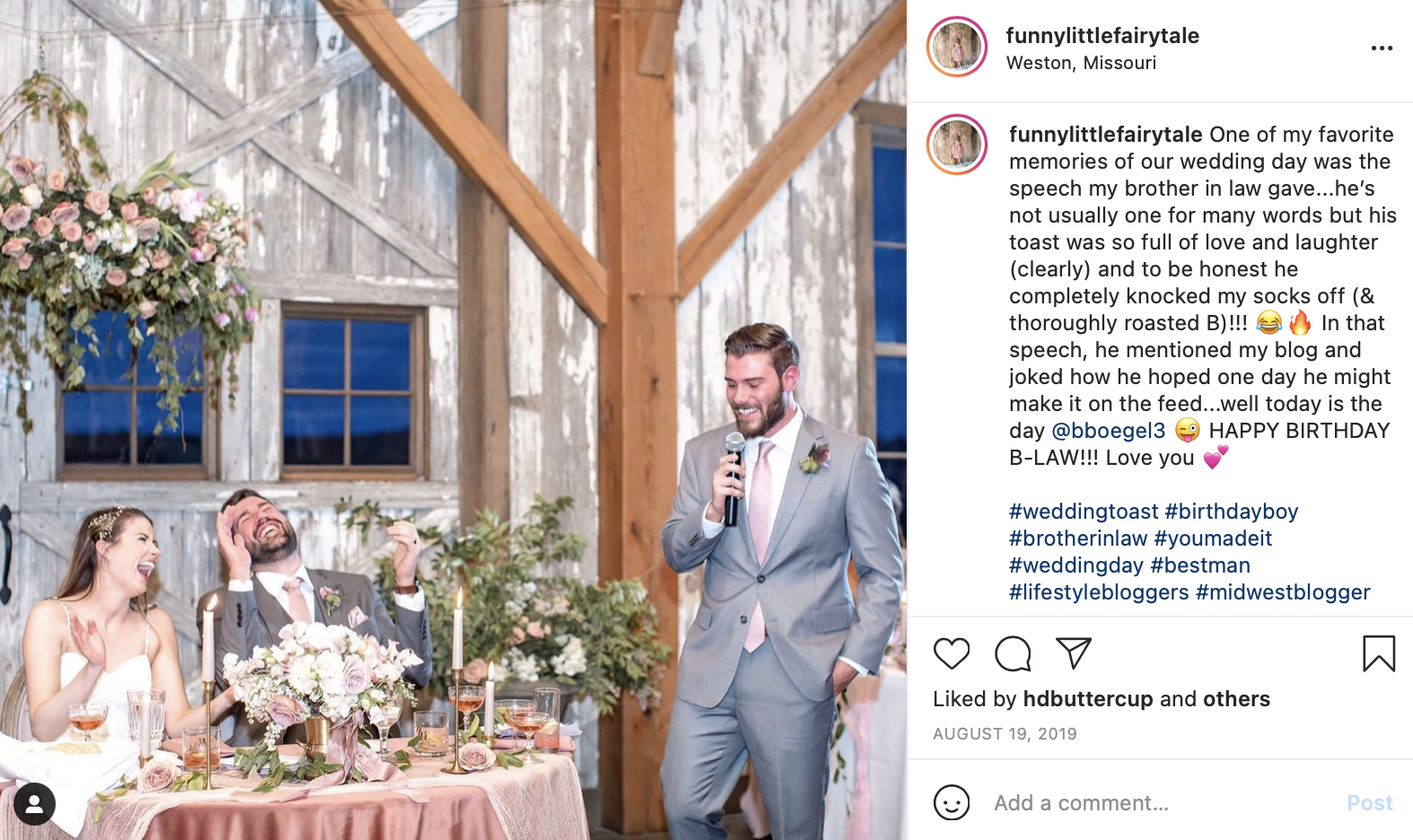 a groomsman gives a toast in a rustic setting
