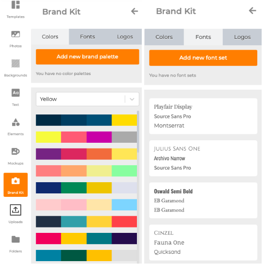 Online design tool, Designmaker's Brand Kit feature.