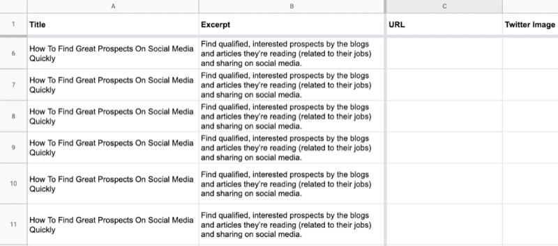 ejemplo de hoja de Google con datos parciales completados en el título y extractos de celdas para las primeras 10 filas