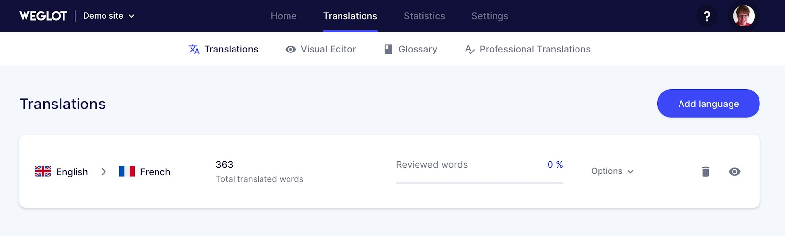Translations list