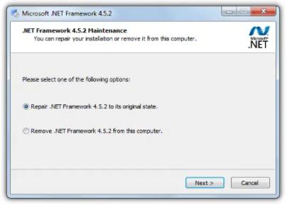 Microsoft .Net Framework 4.5.2 Maintenance >> Repair .NET Framework 4.5.2 to its original state