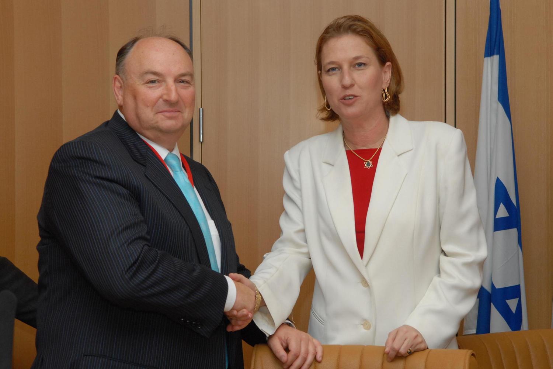Моше Кантор во время визита в Израиль с главой МИД Ципи Ливни