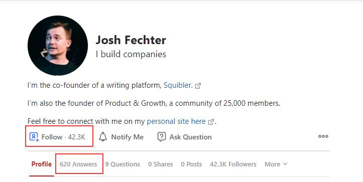 profile on quora example