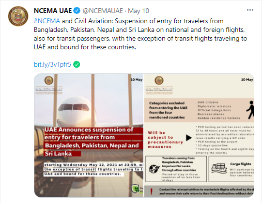 UAE tweet to ban travellers from Pakistan