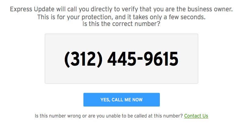 express update verification number