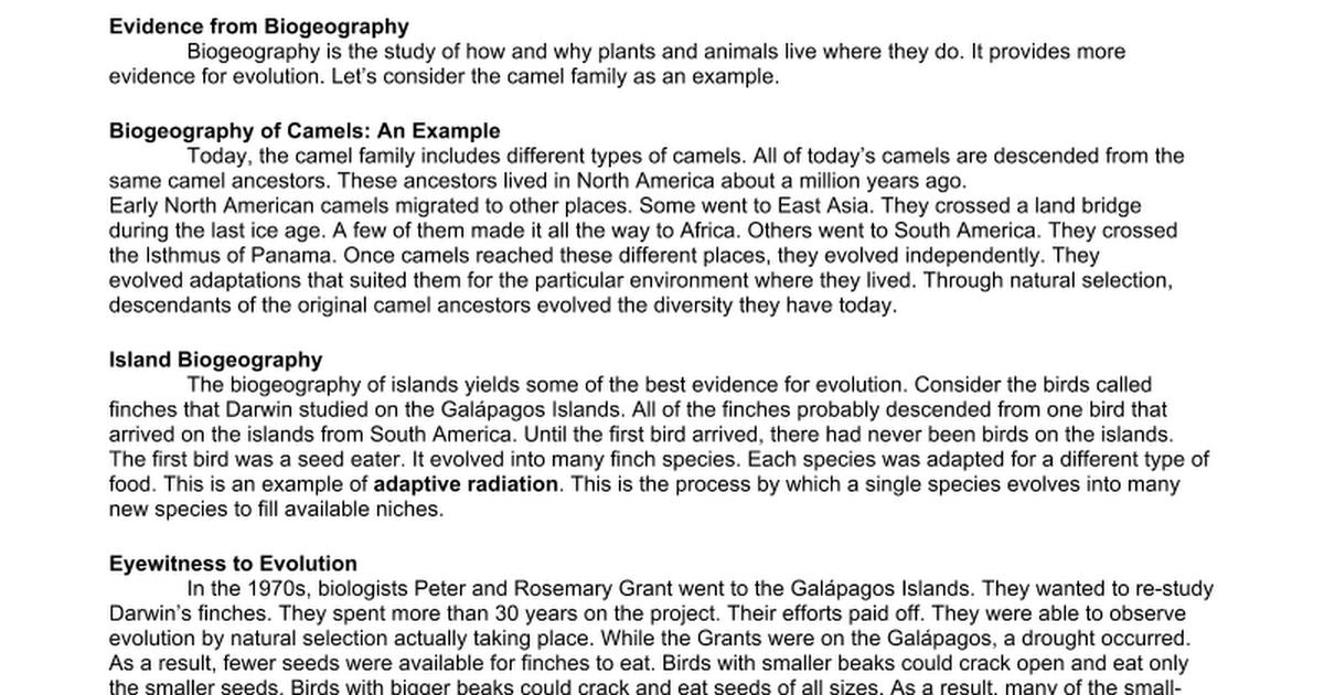 Evidence for Evolution Worksheet Google Docs – Evolution Worksheet