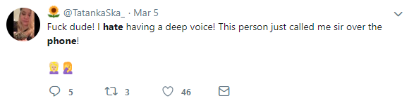 "Tweet found by using market research methods described in this article ""I hate having a deep voice! This person just called me sir over the phone!"""