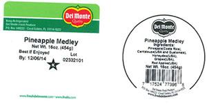 Label, Del Monte Pineapple Medley, 16 oz.
