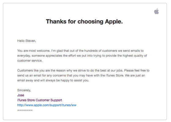 Follow up email example from Apple
