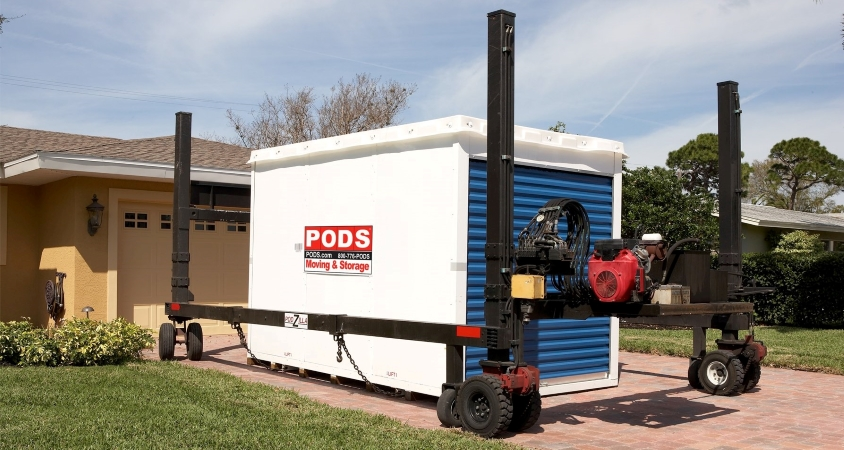 Using PODZILLA to move a large (16-foot) PODS container