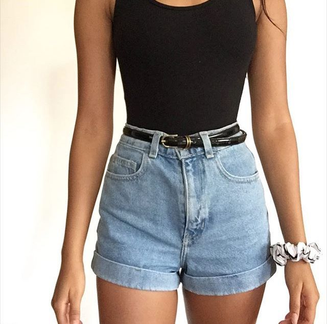 Image result for high waisted shorts outfits