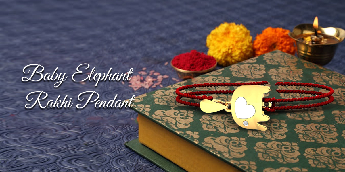 rakhi gift for small brother - baby elephant rakhi pendant