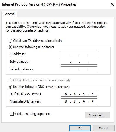 The TCP/IPv4 properties window with the IP address radio box