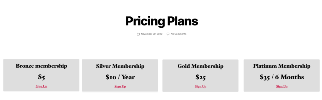 A MemberPress pricing page on a WordPress membership website.