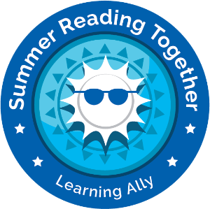 Summer Reading Together logo: stylized sun wearing dark sunglasses in blue circle with words Summer Reading Together, Learning Ally