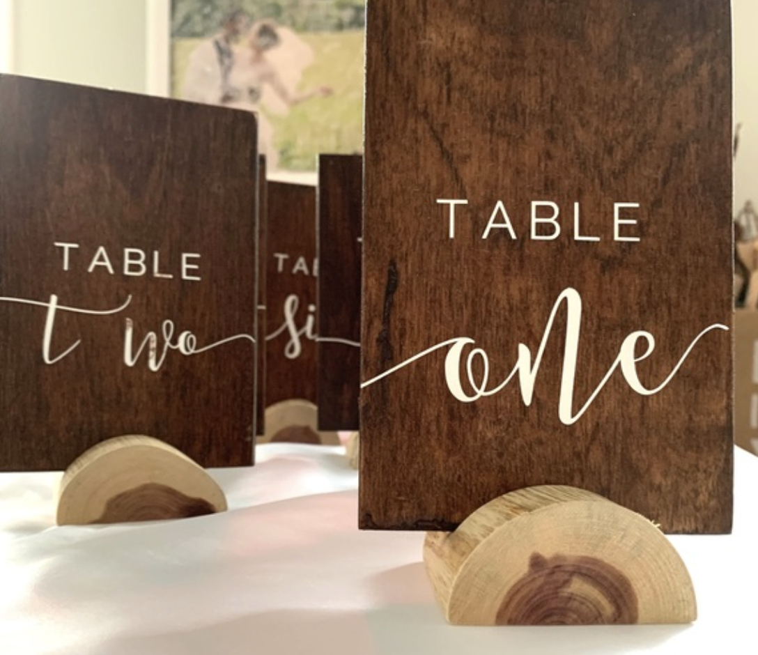 table numbers on wood for rustic wedding decor