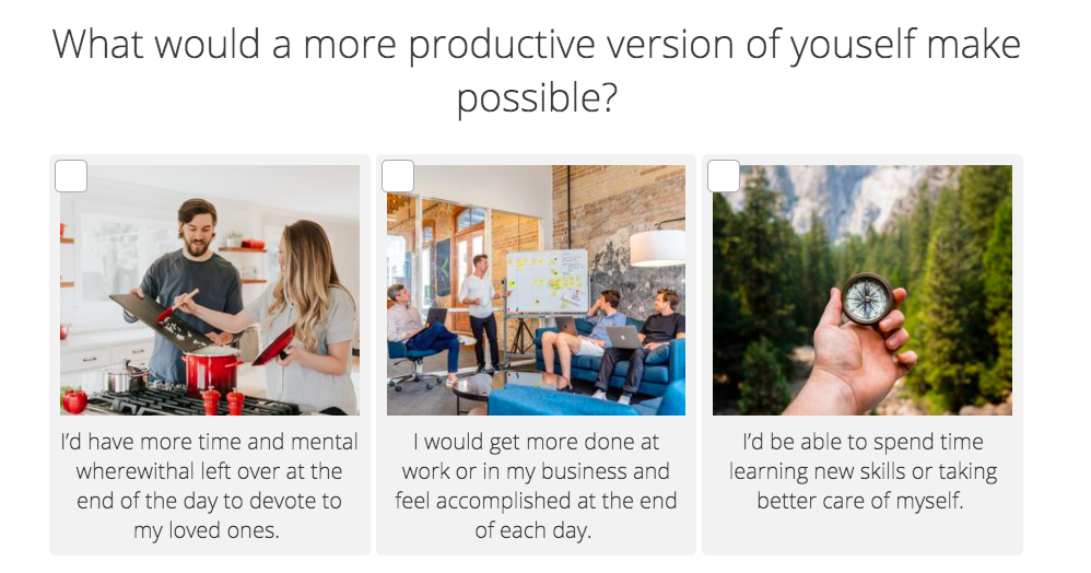 What would a more productive version of yourself make possible? productivity quiz question