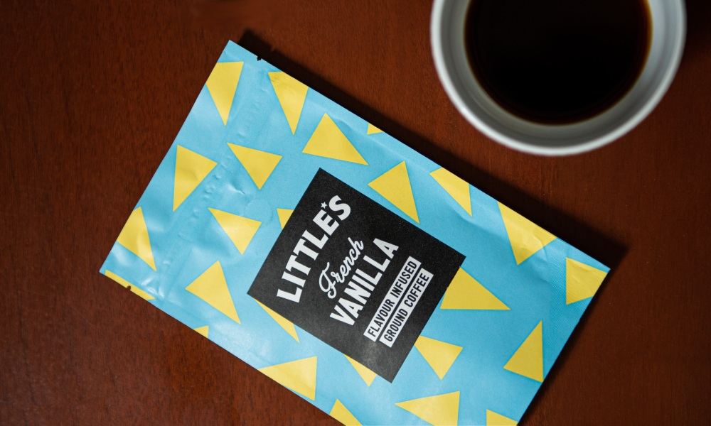 little's french vanilla coffee packaging