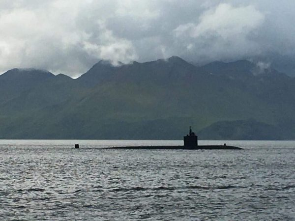 A Russian-style submarine surfaces in the Bering Sea.