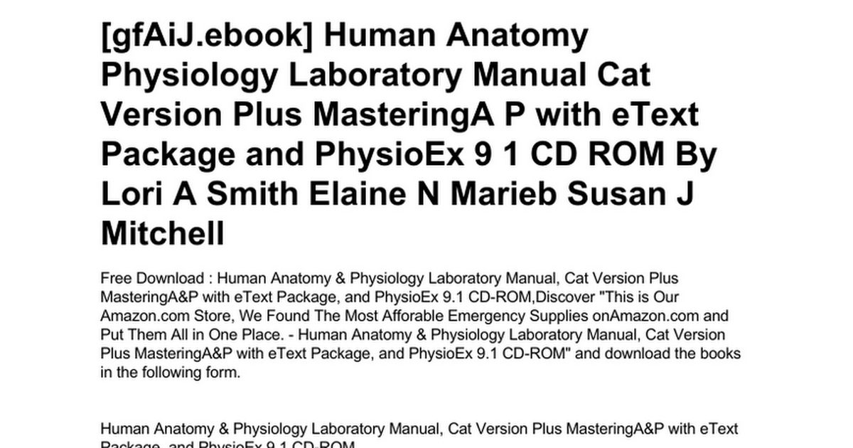 Fein Human Anatomy And Physiology Marieb 9th Edition Access Code ...