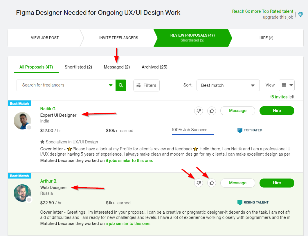 This is the view clients see when they review Upwork proposals from various freelancers.