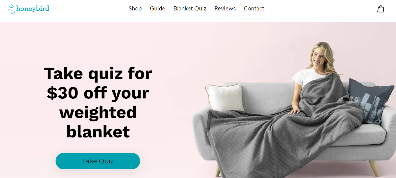 Honeybird CTA to take quiz to get $30 off weighted blanket