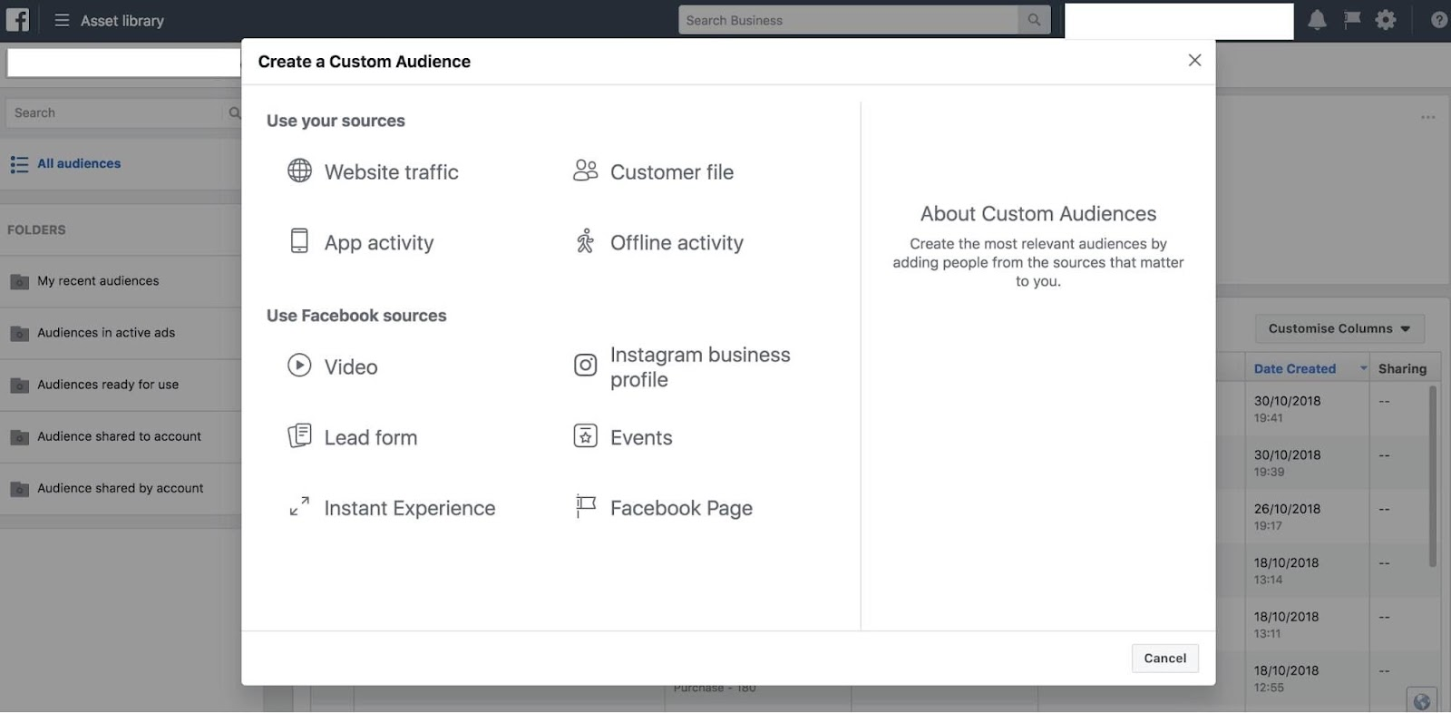 facebook ads custom audience view