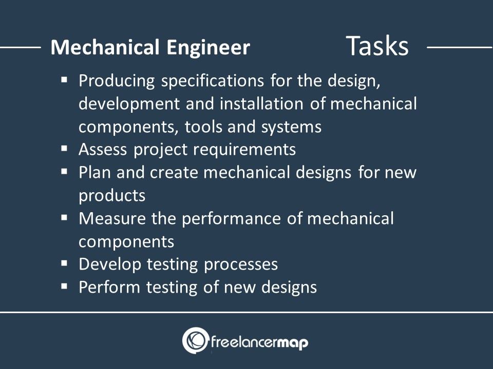 Tasks of a mechanical engineer