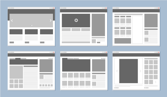 A series of 6 low-fidelity wireframe examples for a website.