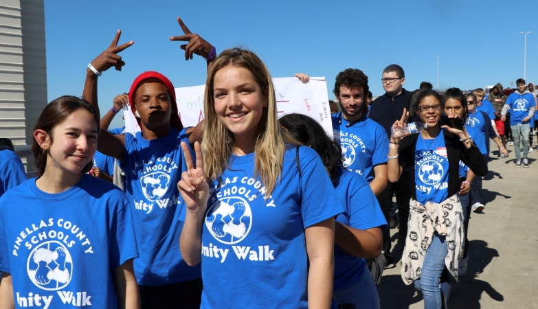 PCS students participating in the Pinellas County Schools Unity Walk