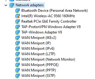 List of Network Adapters in Device Manager