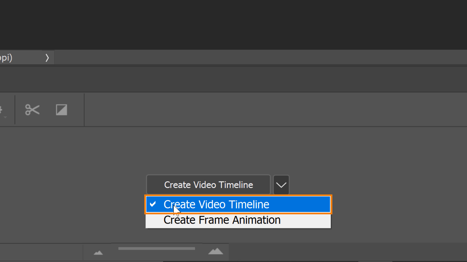 Click on the drop-down menu icon and select Create Video Timeline.