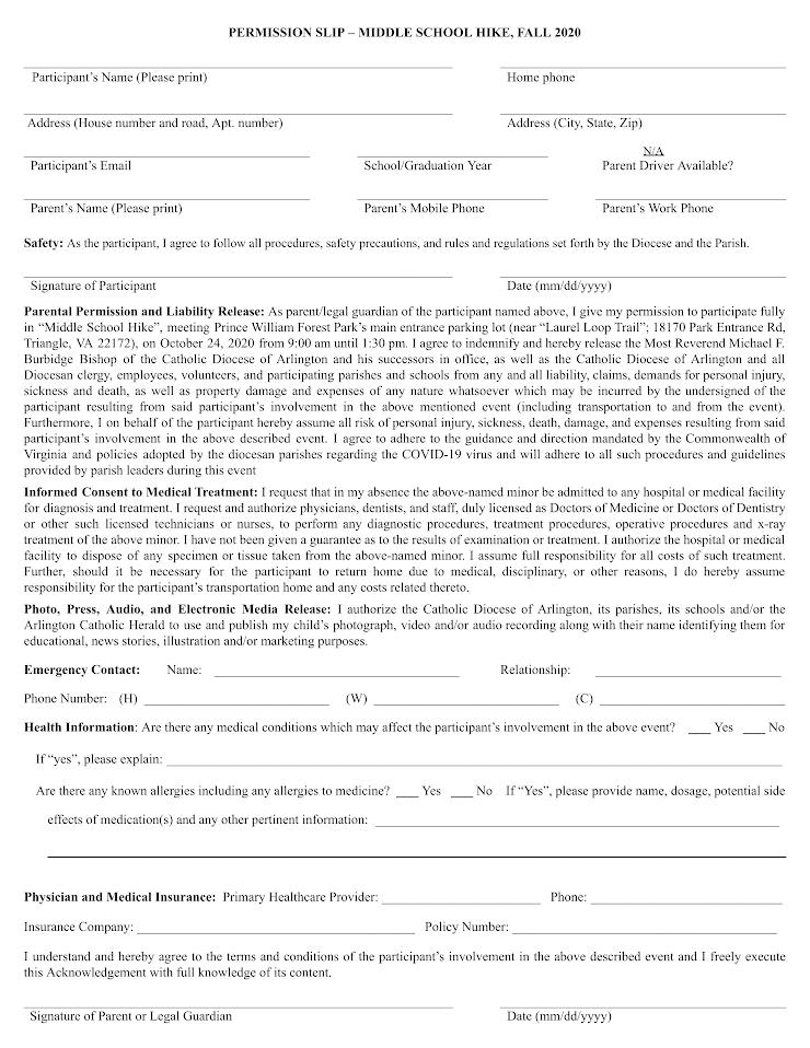 Permission Slip - Prince William Forest Park Hike - October 24, 2020