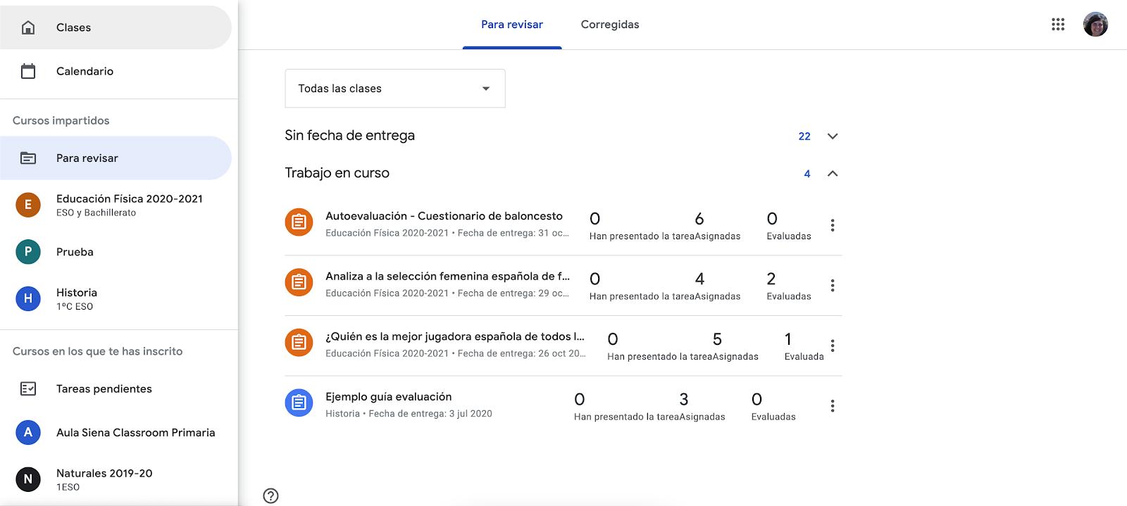 Trucos para sacar el máximo provecho a Google Classroom. Revisa las tareas pendientes que tienes como profesor.