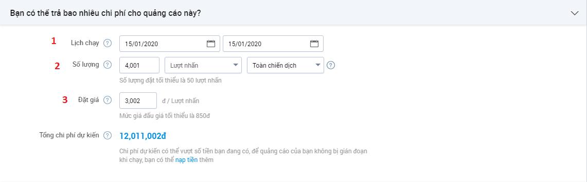 Thiết lập ngân sách và lịch chạy quảng cáo website trên Zalo