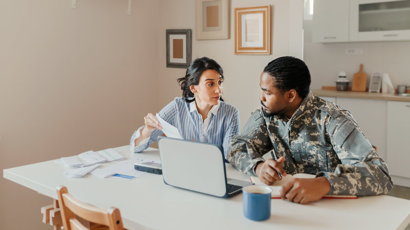 A military man looking through his storage insurance options