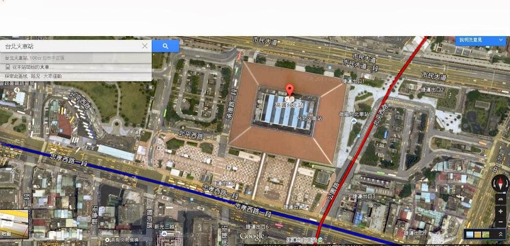 Figure 2. 台北火車站 in Google Map