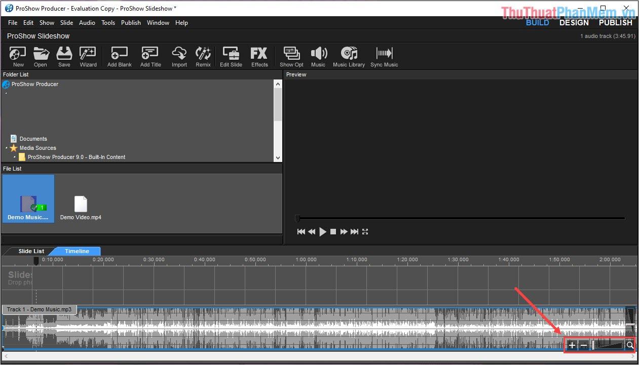 Nhấn vào dấu (-) hoặc kéo thanh Zoom để thu nhỏ thanh nhạc trong trường hợp file nhạc quá dài