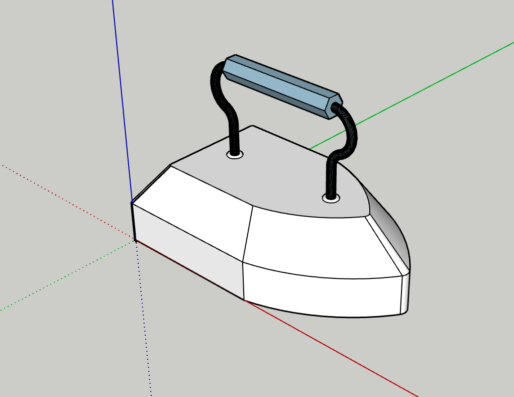 A white untextured model of a vintage sad iron positioned on blue, red, and green y, x, and z axes on a gray background.
