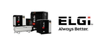 Finnco Compressors' ELGi compressor range and logo