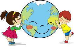 Kinder, Die Lächelnde Planet Erde Umarmen Und Küssen Vektor ...
