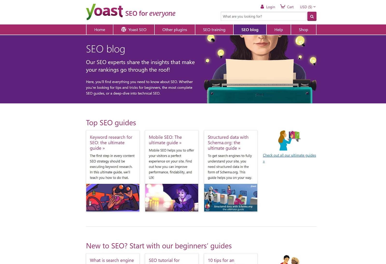 Image of Yoast SEO blog home page