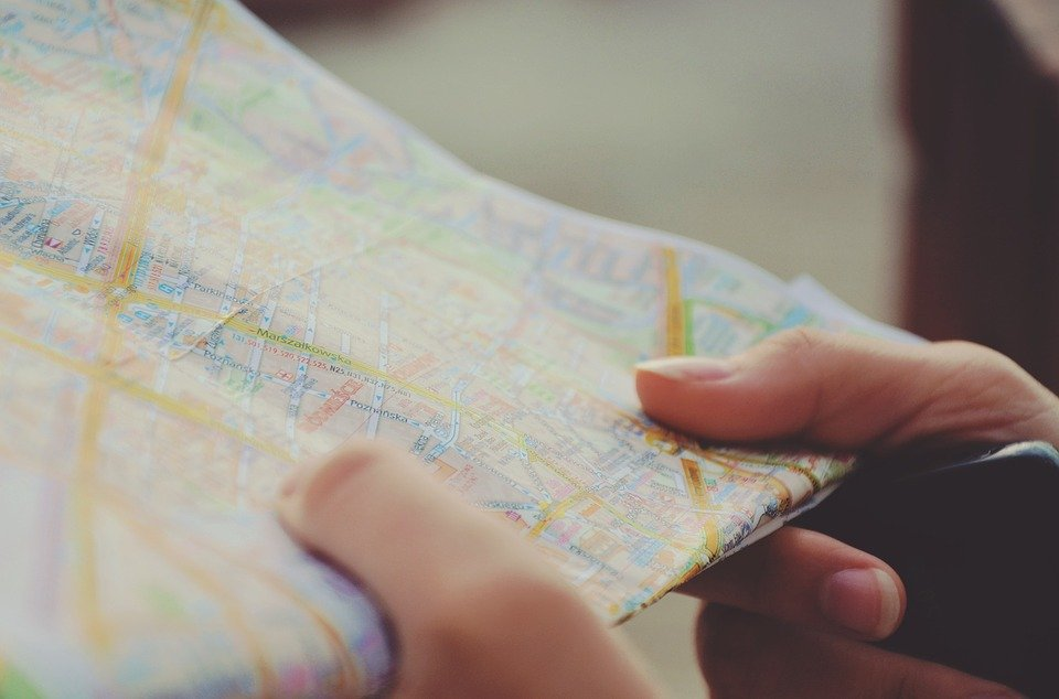A person looks at a map