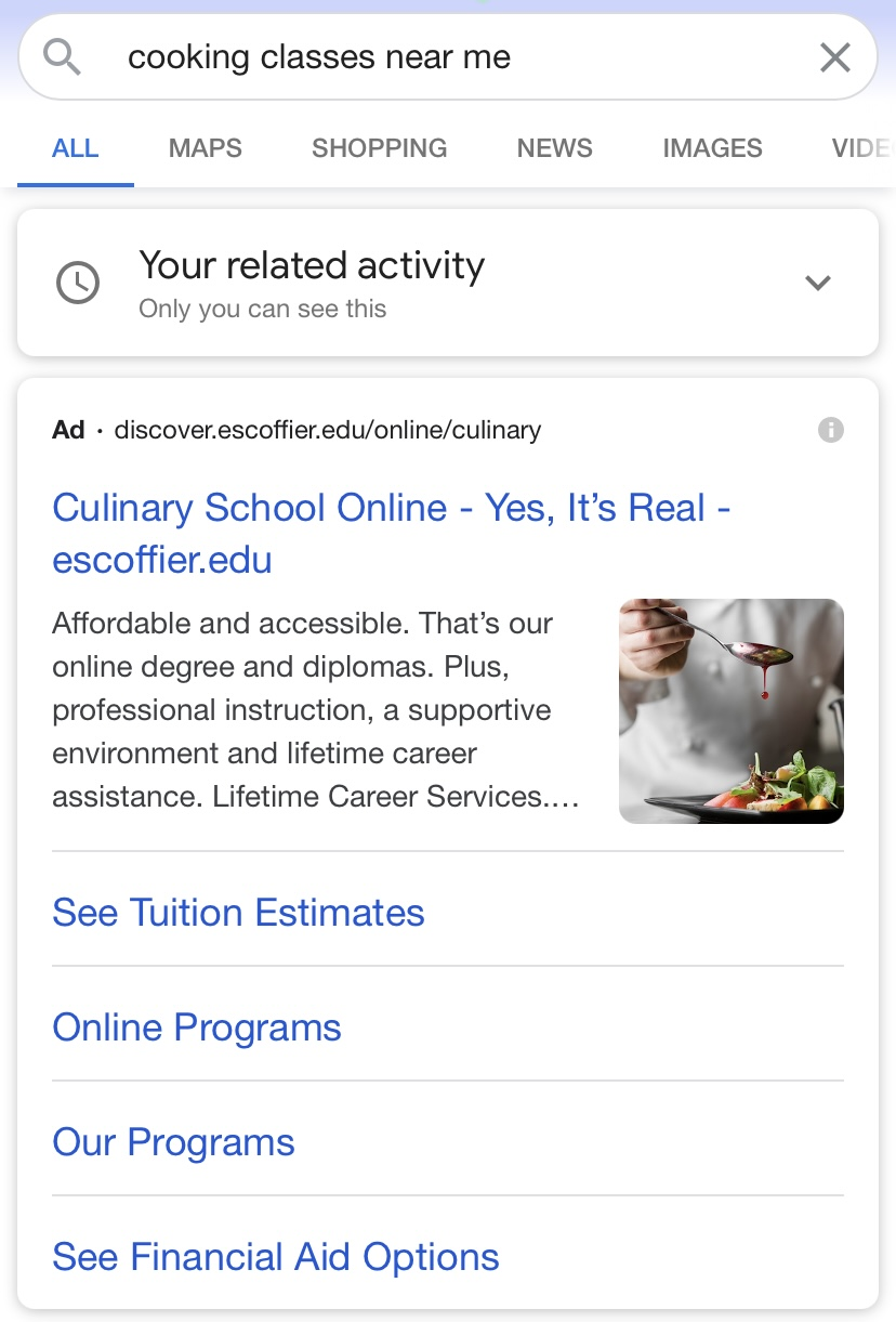 Culinary school Google ad